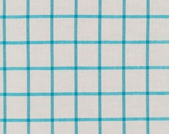 Gray & Aqua Window Dressings for Cloud 9, Organic, Yarn Dyed Broadcloth, fabric by the yard, organic fabric, modern quilt, modern blender