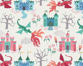 Dragon Castle on Cream, Lewis & Irene, Halloween Fabric, Fabric by the Yard, Boy Fabric, Holiday, quilters cotton, eye fabric