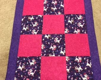 Purple and pink cat quilt