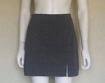 25% off SALE Grey gingham plaid slit skirt
