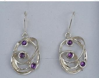 SALE Amethyst Silver Earrings ,Sterling Silver Dangle Earrings ,Handmade Gemstones Earrings ,Women Amethyst Earrings ,Multistone Unique Earr