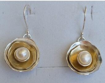 SALE Silver And Gold Earrings ,Pearl Dangle Earrings ,Sterling Silver Earrings ,14K Gold Pearl Earrings ,Bridal Pearl Earrings,White Pearl D