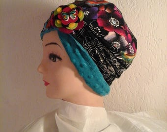 Stretchy reversible chemo Heather girl winter Hat
