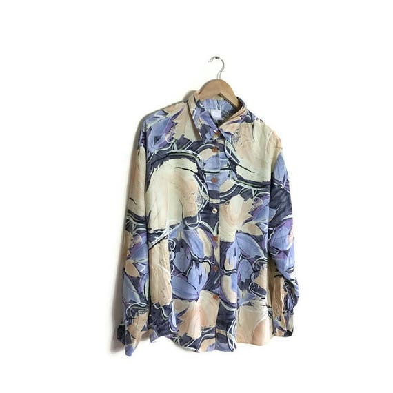 Blue and beige 90s grunge shirt / cool 90s floral blouse / 90s patterned blouse / loose fitting shirt / hipster blouse / oversized blouse /