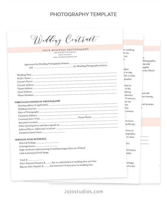 wedding contract template wedding contract photography. Black Bedroom Furniture Sets. Home Design Ideas