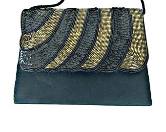 Evening Purse Black Sequin and Gold Beaded Envelope Style