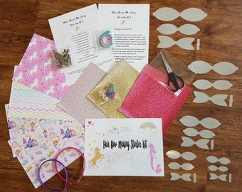 Hair bow making starter kit fabrics, glitter sheets, templates, clips,ribbon, scissors and pencil, headbands all included princess unicorns