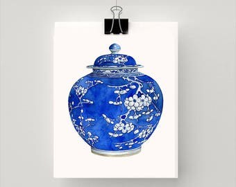 REPRODUCTION PRINT new Blue and white cherry blossom urn