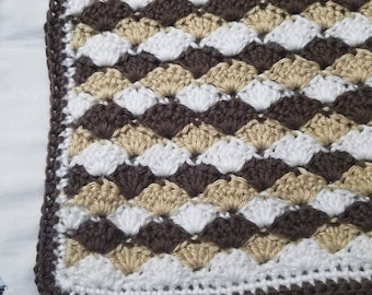 White, Tan and Brown Shells Blanket