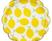 """Lemon Paper Plates (Set of 8) 7"""" Meri Meri Small Party Plates   Fruit Party   Sweet Lemonade Party   Citrus"""