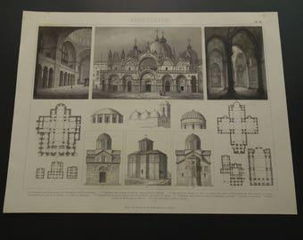CHURCHES Architecture print Original 1870 old antique pictures of San Marco Venice Saint Mark's Basilica church prints vintage illustration