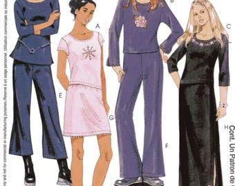 McCall's Pattern 3891 Knit TOPS PANTS SKIRT Girls' Sizes 12 14 16