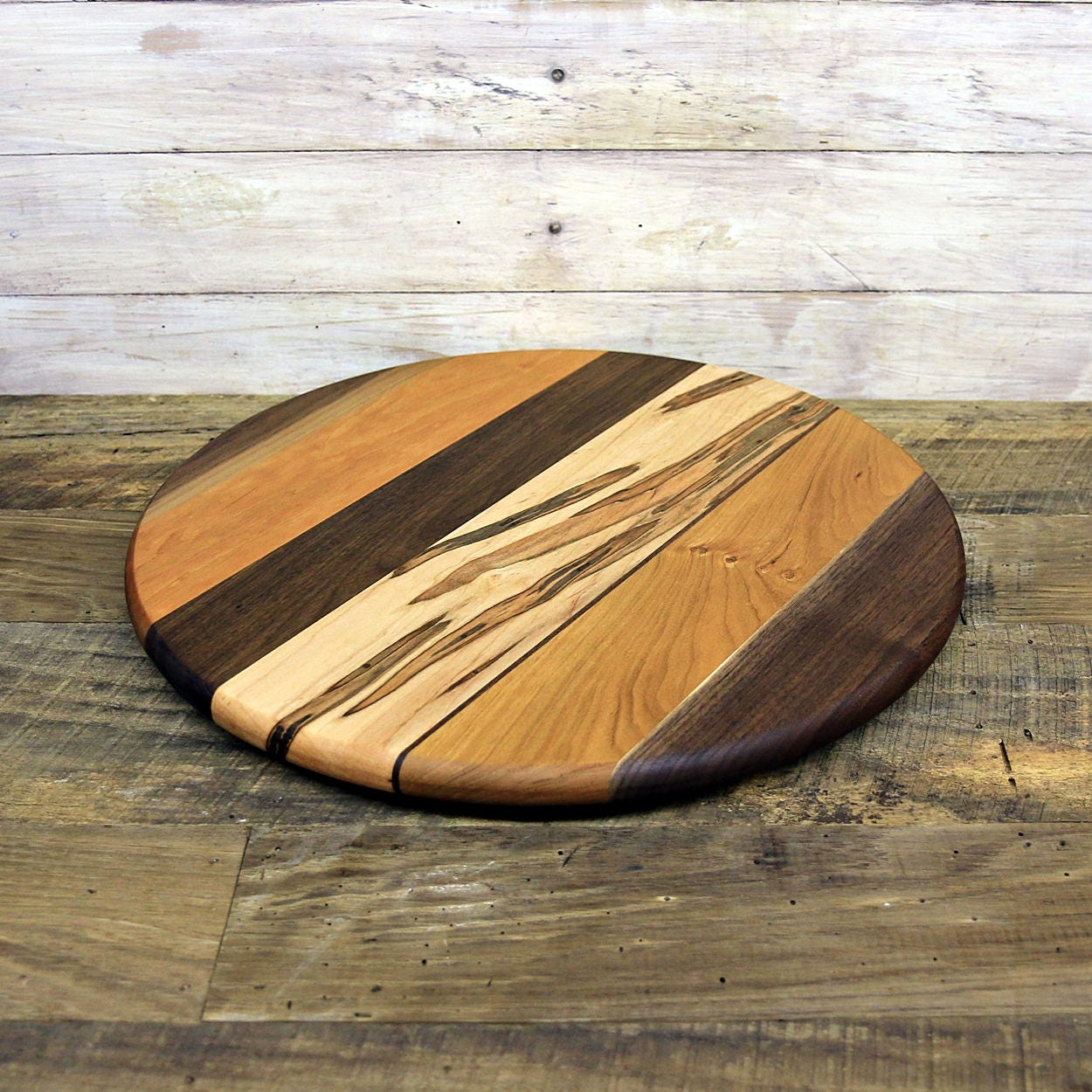 large lazy susan 16 inches round oil rubbed finish low profile walnut ambrosia maple and cherry wood random layout