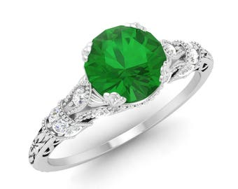 Emerald Ring Diamond Engagement 14k White Gold Solitaire