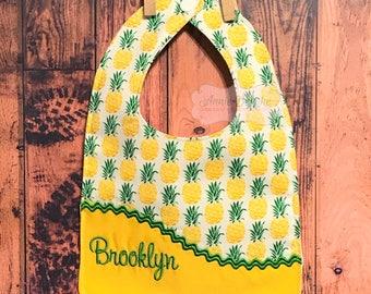 Pineapple Personalized Bib, - Monogrammed Bib, - Reversible Embroidered Baby Bib, - Baby Shower Gift
