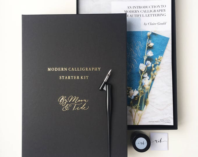 Featured listing image: Beautiful modern calligraphy starter set with full colour guide book and brush pen