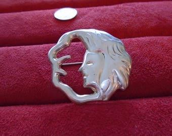 Moon Goddess Woman Face & Moon Sterling Silver Electolite Brooch
