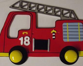 Kids coat rack wooden fire truck design