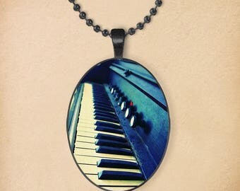 Piano Keys Oval Pendant