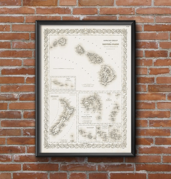Hawaii map 1856 old map of Hawaiian islands  Antique Style Restoration Hardware Style gift wall chart Sandwich Islands Map Fine art Print