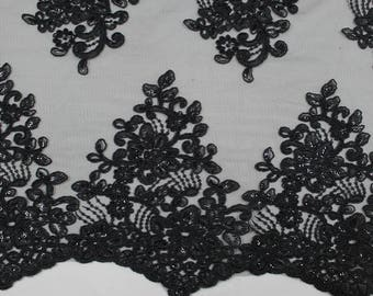 Black 51'' Adrianna Embroidered Flower with Sequins Scalloped Edge Lace Fabric by the Yard- Style 5003