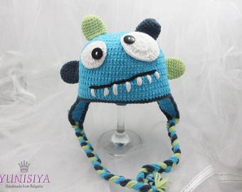 Crochet baby hat Baby boy hat Crochet hat Monster Crochet Hat Newborn Monster Hat Baby Monster Hat Newborn Photo Prop Monster Baby Hat