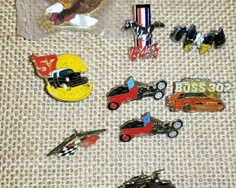 Vintage pins, automobiles, Mustang, Chevy, Harley..