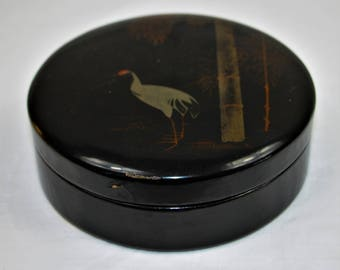Laquered Box, Japanese  Box, Laquered Paper Mache, Japanese Krane, Bamboo, black round collar box