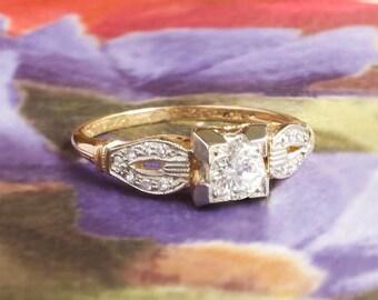 Vintage Engagement Ring 1930's Vintage Art Deco Old European Cut Diamond Engagement Wedding Anniversary Two Tone 14k Gold
