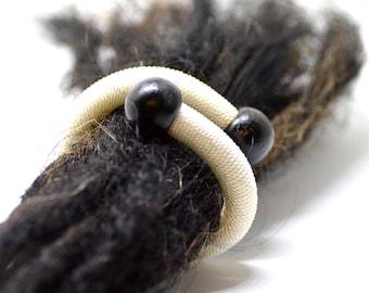 Dreadlocks Hair Tie Holder Adjustable Bracelet Grey & White