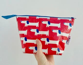 Sausage Dog wipe clean wash bag, Red White and Blue Dogs Kid's toiletry bag, Daschund waterproof zip bag
