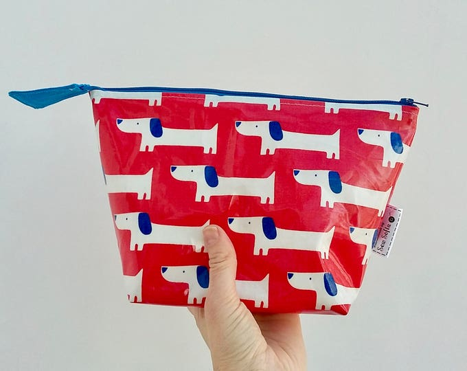 Sausage Dog wipe clean wash bag, Red White and Blue Dogs Kid's toiletry bag, Daschund waterproof zip bag