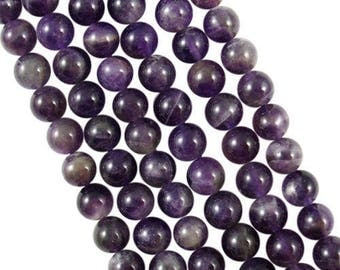 10 x 10mm Amethyst round beads