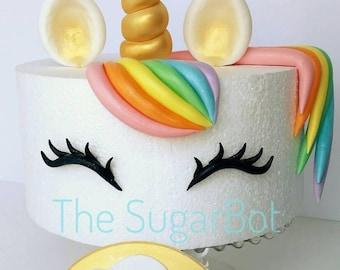 "Unicorn Cake, edible decorations for 7"" or 8"" Round Cake, Rainbow, Glitter, Birthday, Babyshower, Cupcake"