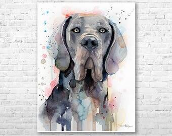 Blue Great Dane watercolor painting print by Slaveika Aladjova, art, animal, illustration, home decor, Nursery, gift, Contemporary, dog art