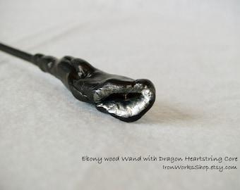 Ebony Wood Wand with Dragon Heartstring Core