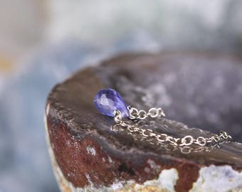 Dainty Faceted Tanzanite Necklace, 14k Gold Filled, Sterling Silver, December Birthstone, Delicate Natural Small Tanzanite Teardrop Pendant