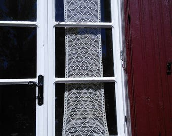 Curtain Lace Filet Crochet Panel Handmade French Vintage Fringing