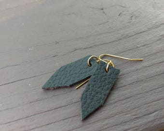 Dark brown leather and gold earrings