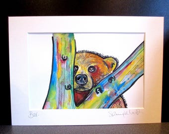 Bear...with me!? An original watercolour, pen,pencil and pastel painting bt Suzanne Patterson
