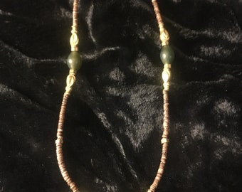 24 carat ornate gold beads, jade and fine shell. Elegant anklet with a sweet sterling silver clasp.