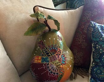 """Hand Painted Bohemian Beautiful One Of A Kind Pear  11""""Wx17""""Hx11""""D X0155"""
