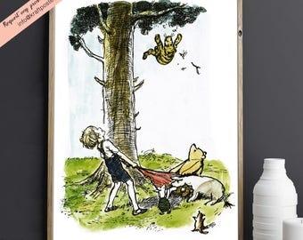 Classic Winnie the Pooh Print, Tigers don't climb trees, Christopher Robin,  Nursery Art, Baby shower gifts, Disney Print