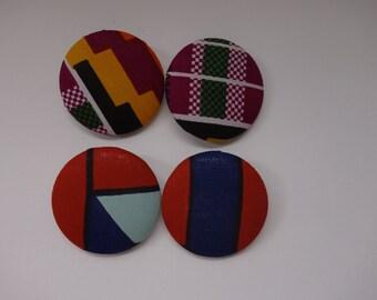 Large Button Earrings, Ankara Wax Fabric