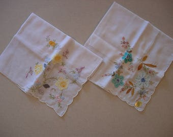Vintage Pair of Hand Embroidered and Appliqued Floral Hankies, Handkerchiefs Unused With Original Tags