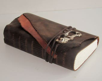 """Handmade Leather Journal, Leather Bound Book, Leather Sketchbook, Travel Journal, 3rd Anniversary Gift  6"""" x 10 1/2"""""""