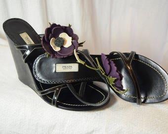 1990 Prada Wedges Flowers Slides Chinoise Purple Poppies