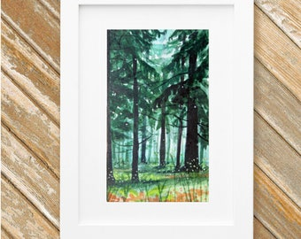 Woodland Forest Painting - Original Small Watercolor Painting - Mystic Landscape - 5 x 9