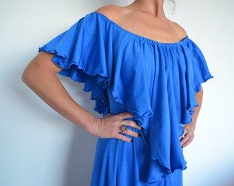 Vintage 70's 80's blue maxi long dress with off shoulder / ruffles AU 8-10 US 4-6 Sm / med