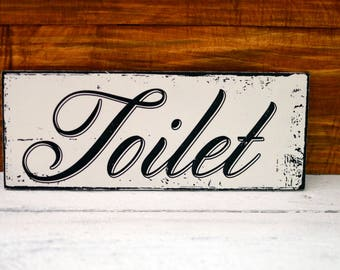 Toilet Sign Plaque Shabby Chic Rustic Wood Sign Hand Painted Reclaimed Wood  Sign Wall Decor French